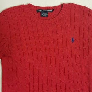 Ralph Lauren Sport M Red Cable Knit Sweater